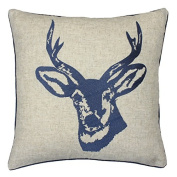 Catherine Lansfield Home Stags Head Embroidered Cushion Cover, Blue, 43 x 43 Cm