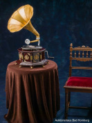 Gramophone, 70cm, horn gramophone, shellac record, gramophone, antique style, adorned
