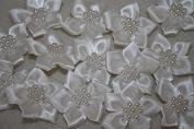Ivory satin flower & pearl bows 20pcs weddingstationeryscrapbook embellishment trim