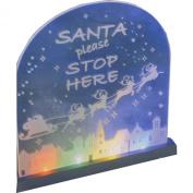 Christmas Decoration LED Light UP Static Multi Coloured Santa Stop Here Sign 22.5cm