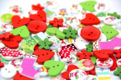 Pack of over Main Red Colours various shapes 2 holes Wood Buttons(15-20MM)Christmas Stockings package for Sewing Scrapbooking