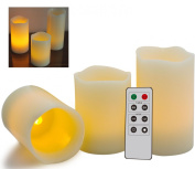 Remote Control Candles 3 Pack - Stunning LED Flameless Candles With Remote Control + Timer Feature - By ThinkGizmos