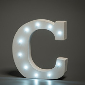 Up in Lights Decorative LED Alphabet White Wooden Letters - Letter C