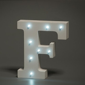Up in Lights Decorative LED Alphabet White Wooden Letters - Letter F