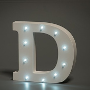 Up in Lights Decorative LED Alphabet White Wooden Letters - Letter D