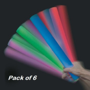 6 Pack Light up Flashing Foam Batons, colour changing mood lights, disco and concert Light up sticks - By Playlearn