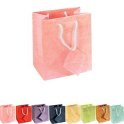 Pack of 10 Drawstring Paper Gift Bags with Tags - (BD3956) Mixed Colours - 75mmx88mm