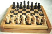 CHESS SET. WOODEN. PEGGED PIECES. 12cm.