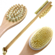 Long Bath Brush For Body - Wooden Back Scrubber - Natural Boar Bristles - Long Handle Dual Head - Helps With Cellulite, Exfoliating, Smoother Skin.