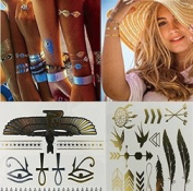 12 Styles & 12 Sheets Pack, Gold Metallic Removable Waterproof Temporary Flash Tattoo Pattern & Golden Bling Glitter Tattoo Stickers Body Art Sex Products for Girls and Guys, etc.