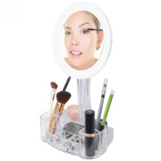 LED 7x Magnified Makeup Mirror with Cosmetic Organiser Base. Battery Operated.