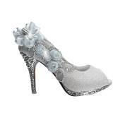 Silver Womens Party Platform High Heel Wedding Bridal Shoes Open Toe Glitter Pumps