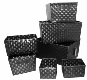 Signature Home 7 Piece PP Woven Strap Storage Bins with Metal Frame and PVC Leather Handles, Black