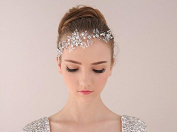 ELEOPTION(TM) Simulated Wedding Evening Bridal Crystal Pearls Flowers Handcrafted Headband Crown Hair Accessories Tiara Band for Girls Lady