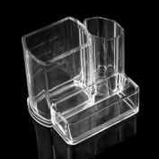 KINGLAKE® 2015 Clear Acrylic Makeup Brush and Cosmetic Holder Organiser with 3 Compartments
