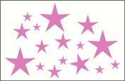 Wall Decor Plus More WDPM207 Variety Star Wall Vinyl Sticker Decal 16 Pc 5.1cm to 20cm Peel-N-Stick By, Soft Pink