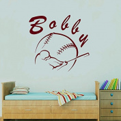 Wall Decals Sports Baseball Player Ball Bat Game Team Monogram Boy Personalised Name Baby Any Room Gym Vinyl Decal Sticker Home Decor ML196