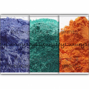 Lot of 3 Sample Mica Pigment Powders in Blue Teal Green and Orange 1g Sample Micas Cosmetic Grade for Lotion Makeup & Soap Making