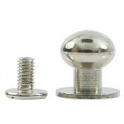 "Bluemoona 20 Sets - Head Button 12mm 1/2"" Brass Stud Screwback Screw Back Spots for Leather Rivet Nickel"