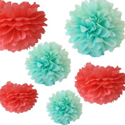 CheckMineOut Pack of 12pcs 3 Sizes Mixed Mint & Coral Tissue Paper Pom Poms Flowers Wedding Centrepieces Birthday Bridal Shower Party Decoration Christmas Favours