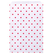 200 pcs Red Polka Dot Paper Merchandise Gift Bags Shopping Sales Tote Bags 15cm x 23cm - Caddy Bay Collection