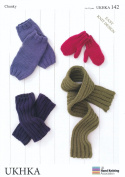 Chunky Knitting Pattern for Easy Knit Design Kids Childrens Mittens Leg Warmers & Scarf