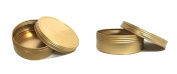 JUVITUS 120ml Gold Metal Steel Tin Flat Container with Tight Sealed Twist Screwtop Cover Lid