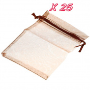 Beautiful Bead 25 pcs Adjustable Neck Stringed Dainty Gift Pocket Jewellery Organiser Candy Pouch Brown