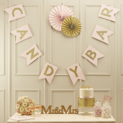 Ginger Ray Pastel Pink and Gold Glitter Candy Bar Wedding Bunting - Pastel Perfection