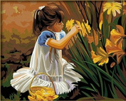 PaintingStudio Beautiful girl Pick yellow Flowers DIY painting by numbers kits 41cm x 50cm Frameless