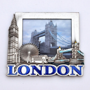 I Love London Photo Frame - Metal Photo Frame - London Souvenir Photo Frame - London Icons Metal Photo Frame - Big Ben, Tower Bridge, London Eye - Medium Size