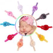 Susenstone® 10pcs Baby Girl Elastic Multicolor Flower Headband Rhinestone Hair Band