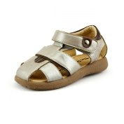 Boy's Close Toe Leather Sandals Toddler Size Silver or Brown Colour Comfy Soft