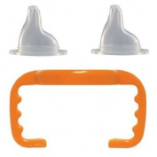 Thinkbaby Baby Bottle to Sippy Cup Conversion/Replacement Kit, Orange, 9 Months