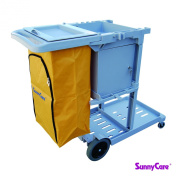 SunnyCare®#611-G-L New Grey Plastic Janitorial Cart With 94.6l Bag Size