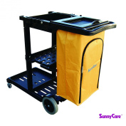 SunnyCare®#611-B New Black Plastic Janitorial Cart With 94.6l Bag Size