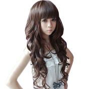 Sunward Fashion Womens Girls Dark Brown Wavy Curly Long Hair Human Wig+wig Cap