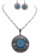 Fashion Jewellery ~ Circle Cut Out with Blue Epoxy Stone Necklace and Earring Set