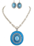 Fashion Jewellery ~ Blue Oval Design Necklace and Earring Set