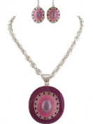 Fashion Jewellery ~ Purple Oval Design Necklace and Earring Set
