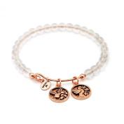 Chrysalis Rose Gold Plated Truth White Quartz Expandable Bangle Bracelet - CRBH0103RG