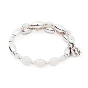 Chrysalis Rhodium Plated Silver Fire White Wrap Bangle Bracelet - CRBW0003SPWHIT