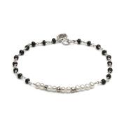 Freshwater Cultured White Pearls Sterling Silver Morse Code Faith Bracelet