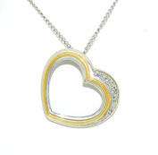 Sterling Silver Two Tone Gold Plated Heart Charm