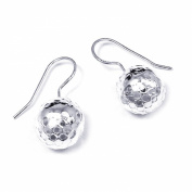 Mod Hammered 12mm Ball Sterling Silver Hook Earrings
