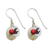 Washington State Cougars Silver, Colour and Freshwater Pearl Drop Earrings