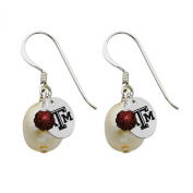 Texas A & M Aggies Silver, Colour and Freshwater Pearl Drop Earrings