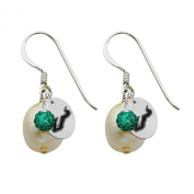 South Florida Bulls Silver, Colour and Freshwater Pearl Drop Earrings