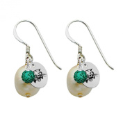 Ohio Bobcats Silver, Colour and Freshwater Pearl Drop Earrings
