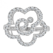 14k White Gold, Fancy Modern Flower Design Cocktail Ring with Brilliant Lab Created Gems